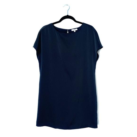 CAMBER & GRACE NAVY BLUE SATIN HOLIDAY DRESS SM